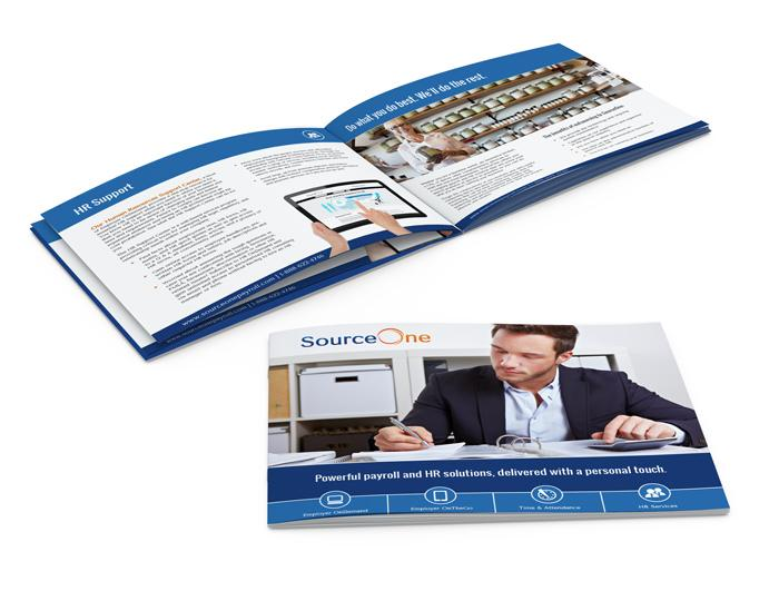 Print sales brochure design that our VA web design firm created for a payroll service firm.