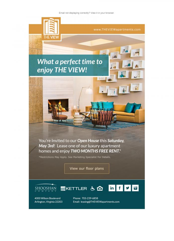 Email newsletter we created for an Arlington, VA apartment community.