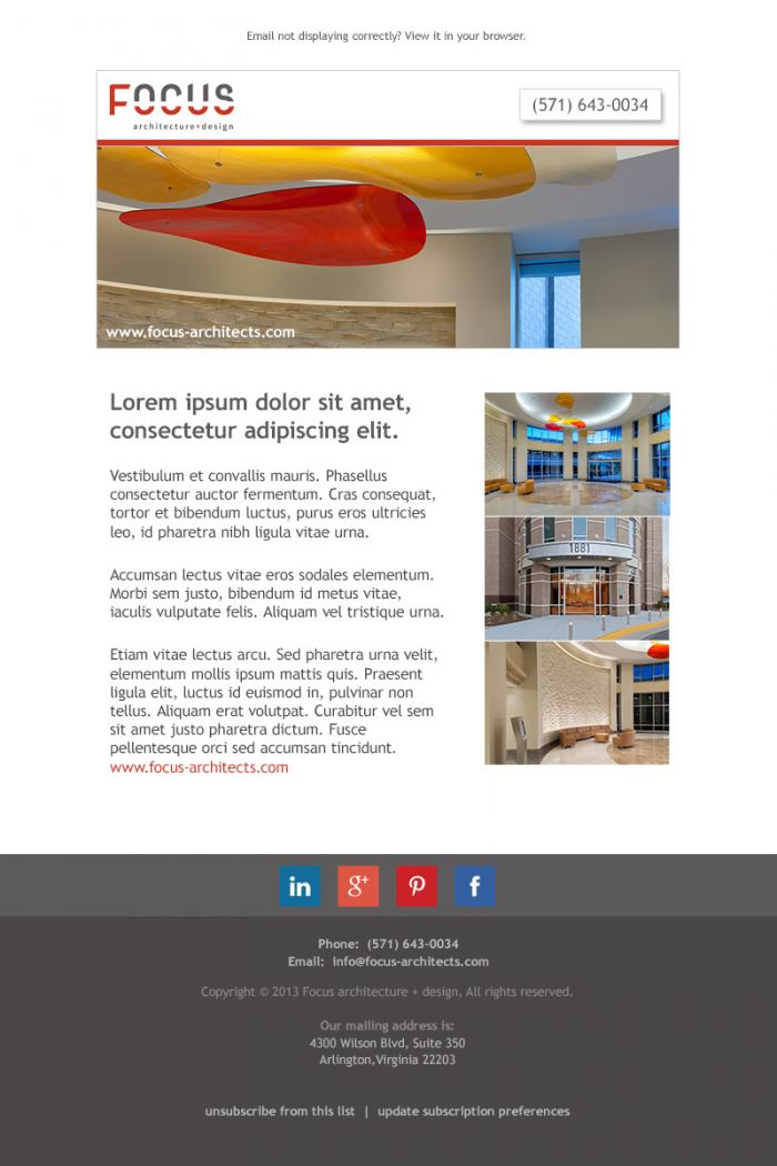 Email newsletter design for a local (VA/DC) architecture firm.