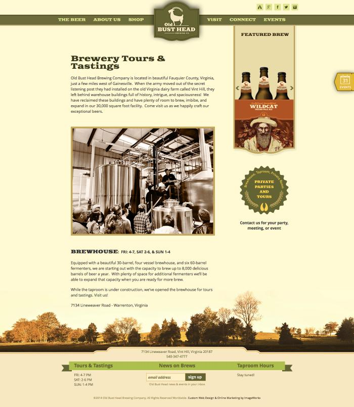 An example of a subpage designed for a local brewery in Virginia