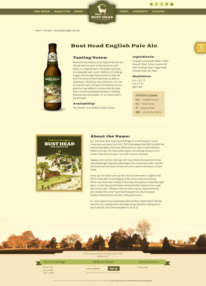Individual beer page example designed for a local brewery in Virginia