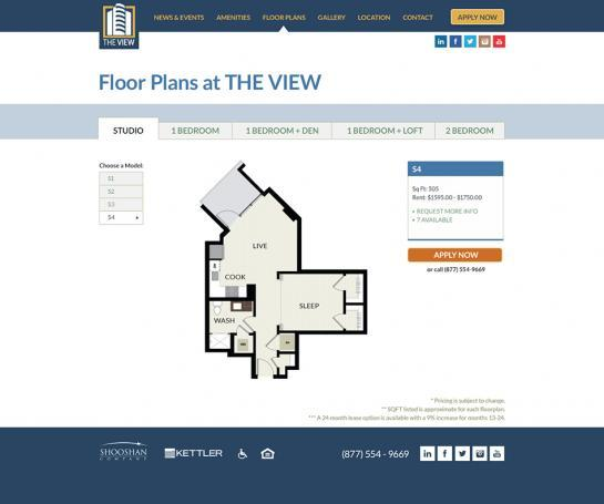 Floorplans we created for an Arlington, VA apartment community.